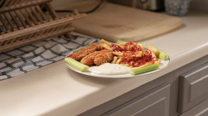 Food French Fries Celery Fried Chicken Ketchup 3840x2160 Wallpaper