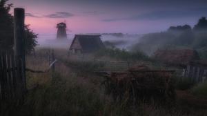 Mist Windmill House Building Fence Grass Outdoors Photography Landscape Alexandr Kukrinov Hay Path T 2048x1365 Wallpaper