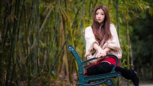 Asian Model Women Long Hair Brunette Skirt Bench Knee High Boots Jacket Bamboo 3840x2561 Wallpaper