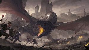 Battle Dragon Warrior Wizard Woman Warrior 2735x1000 Wallpaper