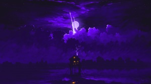 Digital Art Night Sky Clouds Moon Rocket Couple Cottage Love BisBiswas 1920x1080 Wallpaper