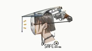 Mask Gun Headsets Simple Background 1600x900 Wallpaper