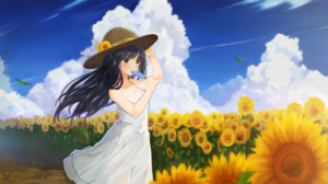 Blue Hair Cloud Dress Flower Hat Ice Cream Long Hair Sky 1920x1080 wallpaper