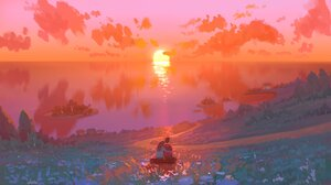 Artwork Nature Sunset Sea Reflection Couple Clouds 2048x1152 Wallpaper