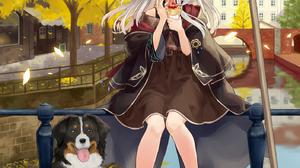 Anime Anime Girls Majo No Tabitabi Elaina Majo No Tabitabi Silver Hair Blue Eyes Dog Witch Hat Fall  1406x2000 Wallpaper
