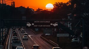 Highway Sun Sunset Car Portrait Display 2304x4096 Wallpaper