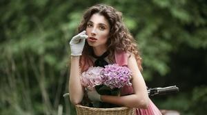 Model Outdoors Women Outdoors Looking At Viewer Brunette Flowers Plants Makeup Lipstick 2100x1400 Wallpaper