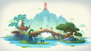 Jun Zhang Asian Architecture White Background Waterfall River Monkey Horse Mountains Mushroom Vines 1920x1008 Wallpaper