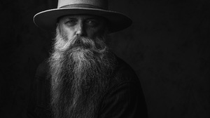 Portrait Monochrome Studio Looking At Viewer Hat Beard Beards 2000x1333 Wallpaper