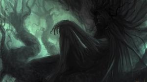 Fantasy Art Digital Art Artwork Creature Trees Branch Smoking Red Eyes Creepy 4000x2400 Wallpaper