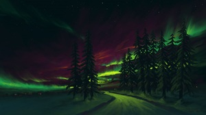 Sky Aurora Borealis Landscape Winter 1920x1080 Wallpaper