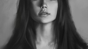 Tim Liu Digital Painting Digital Art Women Long Hair Black Hair Dark Hair Portrait Display Portrait  1920x2621 wallpaper