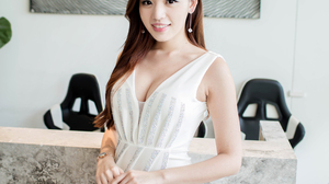 Asian Brunette Women Model White Dress Smiling Long Hair Women Indoors Portrait Display Looking At V 2560x3840 Wallpaper