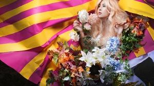 Asian Women Model Colorful Blonde Dyed Hair Flowers Plants Makeup 2400x1600 Wallpaper