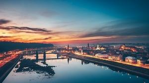 Sunset City Lithuania Reflection 2048x1364 Wallpaper
