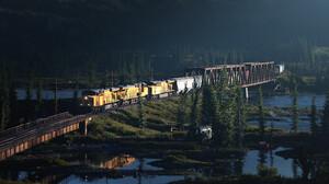 Marcel Haladej Artwork ArtStation Train Vehicle Digital Art Bridge Landscape Diesel Locomotive 3000x1200 Wallpaper