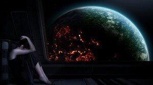The Techromancer Artwork Alone Sad Women Digital Painting Sitting Black Clothes Digital Art Black Cl 1920x1080 Wallpaper