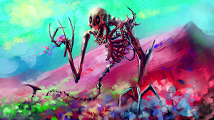 Colors Creature Creepy Fantasy Flower Skeleton 4200x2500 Wallpaper