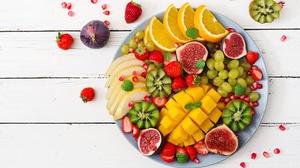 Berry Fig Fruit Grapes Kiwi Mango Still Life Strawberry 5944x3883 Wallpaper