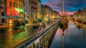 Copenhagen Denmark Boat Canal House Town Building Evening Night 6000x4000 wallpaper