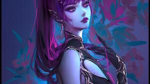 Nixeu Drawing Women Horns Purple Hair Ponytail Dress Black Clothing Purple Eyes Simple Background 950x1463 Wallpaper