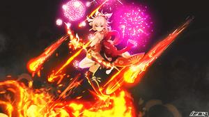 Yoimiya Genshin Impact Genshin Impact Anime Girls Fire 1920x1080 Wallpaper