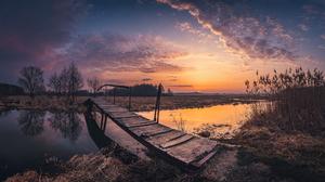 Bridge Water Sunset Sky Clouds Stream Reeds Nature Outdoors Photography 2048x1192 Wallpaper