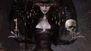 Othon Nikolaidis Skull Closed Eyes Dark Hair Witch Digital Painting Keys Black Clothing Digital Art  3700x4000 wallpaper