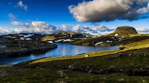 Cabin Cloud Mountain Norway Pond Shore 2560x1440 Wallpaper