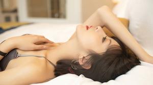 Women Asian Chinese Model Red Lipstick Earring 3840x2160 wallpaper