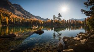 Alps Fall Forest Lago Di Saoseo Lake Mountain Reflection Stone Switzerland 2200x1380 Wallpaper