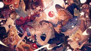 Alice Margatroid Aya Shameimaru Marisa Kirisame Nitori Kawashiro Patchouli Knowledge Reimu Hakurei S 4960x3508 Wallpaper