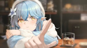 Anime Anime Girls Blue Hair Long Hair Yellow Eyes Elf Ears Barrette Drink Blue Nails Long Nails Bar  2048x1152 Wallpaper