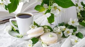 Coffee Macaron Still Life White Flower 5616x3744 Wallpaper