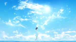 Cloud Girl Short Hair Sky Summer 3840x2160 Wallpaper
