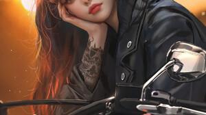 Nixeu Drawing Women Dark Hair Resting Head Tattoo Hoop Earrings Motorcycle 1069x1350 Wallpaper