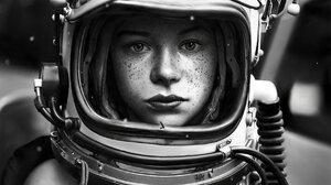 Women Monochrome Artwork Freckles Astronaut 1768x2263 Wallpaper