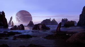 Rock Seascape 2678x1341 wallpaper