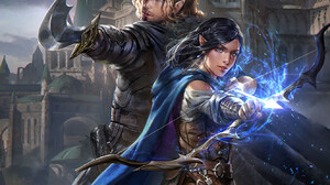Jeremy Chong Drawing Men Women Warrior Archer Magic Cape Dark Hair Blonde Bow Arrows Castle Fantasy  1329x1760 Wallpaper