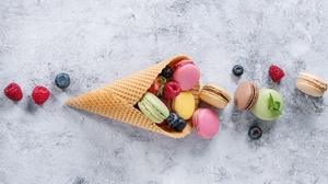 Berry Macaron Sweets Waffle Cone 5184x3456 Wallpaper