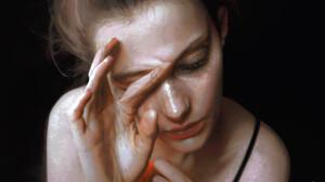 LiN RAN Artist Face Closed Eyes Brunette Blonde Closed Mouth Hands Dark Background Black Background  1824x1108 Wallpaper