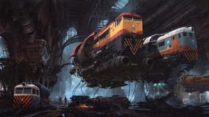 Artwork Science Fiction Train 2560x1440 Wallpaper