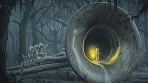 Artwork Painting Adrian Borda Surreal Musical Instrument Trees Trumpets Lights Spooky Giant Children 2400x1666 Wallpaper