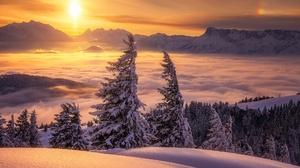 Fog Landscape Mountain Nature Snow Sun Winter 2000x1338 Wallpaper