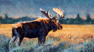 Artistic Elk Rain Wildlife 3300x2100 Wallpaper