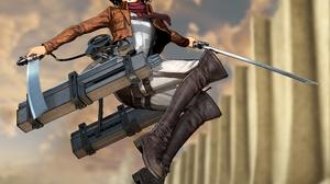 Attack On Titan Black Eyes Black Hair Blade Mikasa Ackerman Short Hair Uniform Weapon 5120x4320 Wallpaper