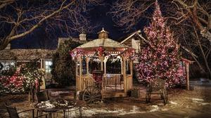 Christmas Christmas Lights Christmas Tree Decoration Gazebo Terrace 4283x2640 Wallpaper
