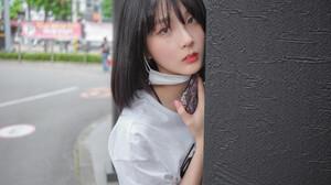 Korean Korean Women Short Pants Face Mask White T Shirt Black Hair Short Hair Looking At Viewer Asia 5000x3333 Wallpaper