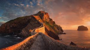 Sunset Water Sea Path Rocks Outdoors Photography 1850x854 Wallpaper