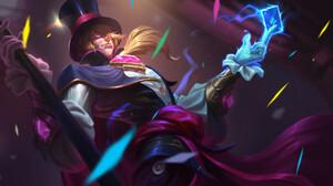 Digital Art Artwork Men Video Games Top Hat Magician Battlerite Blonde Pink Eyes Cards Aces Magic 1920x1152 Wallpaper